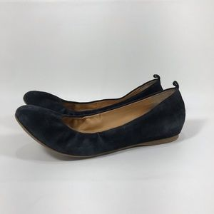 J.Crew Anya Black Suede Ballet Flats Hidden Wedge